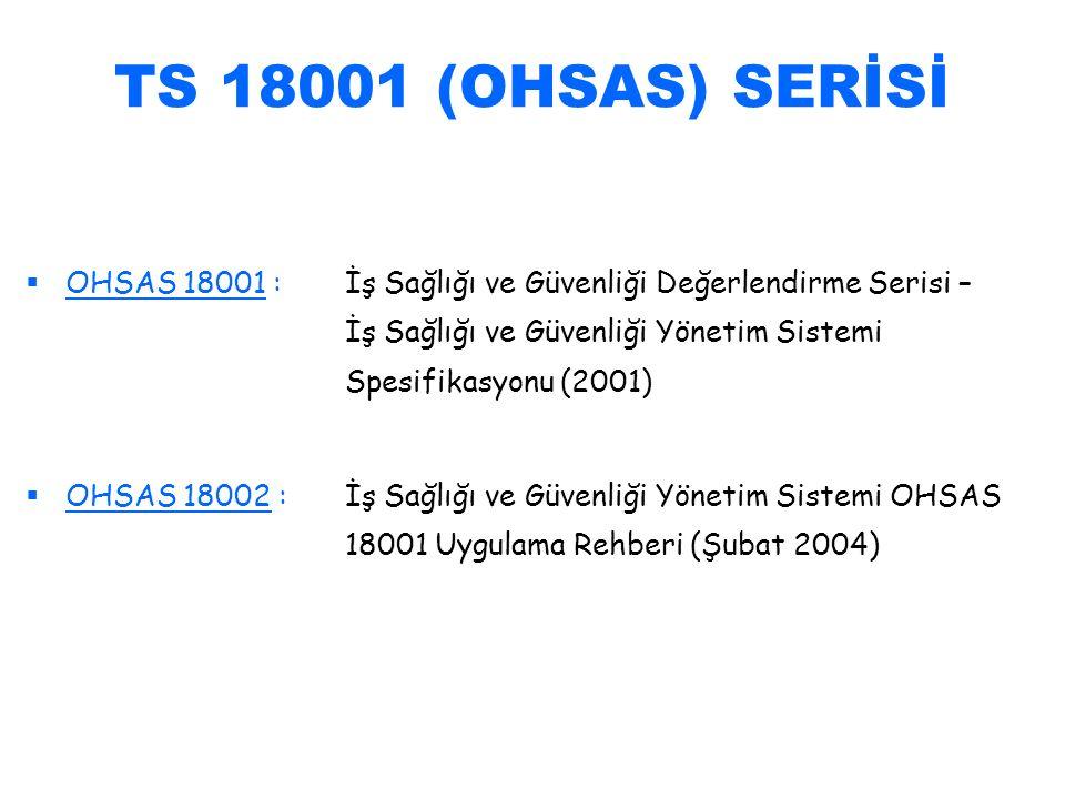 TS 18001 (OHSAS) SERİSİ   OHSAS 18001 :İş Sağlığı ve Güvenliği Değerlendirme Serisi – İş Sağlığı ve Güvenliği Yönetim Sistemi Spesifikasyonu (2001)