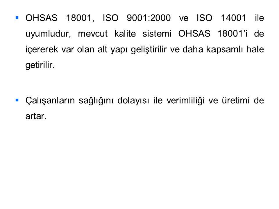   OHSAS 18001, ISO 9001:2000 ve ISO 14001 ile uyumludur, mevcut kalite sistemi OHSAS 18001'i de içererek var olan alt yapı geliştirilir ve daha kaps