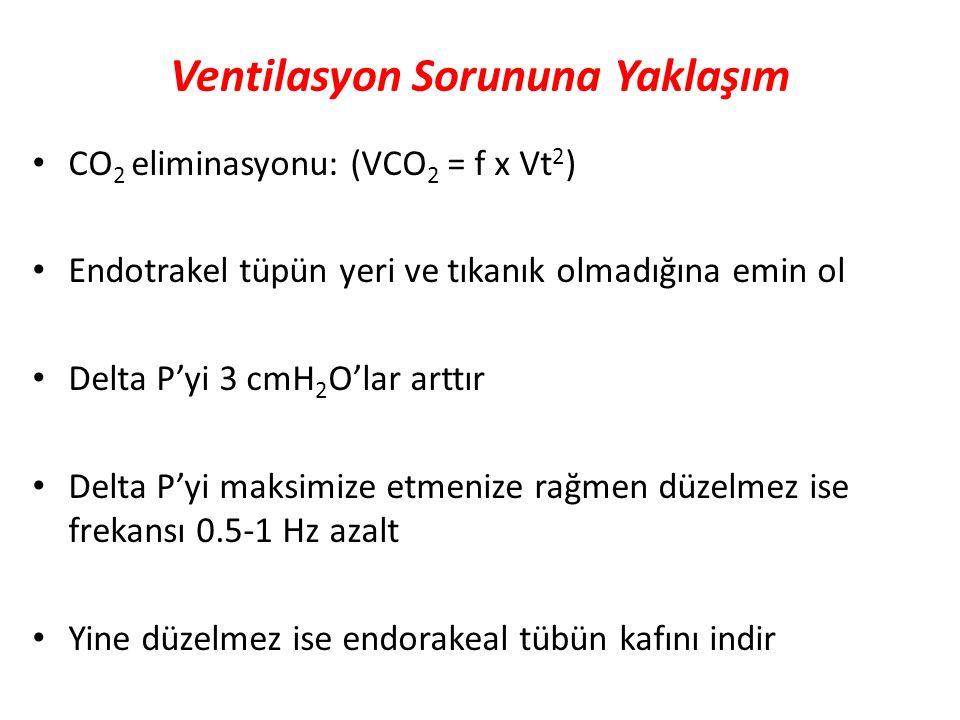 Ventilasyon Sorununa Yaklaşım CO 2 eliminasyonu: (VCO 2 = f x Vt 2 ) Endotrakel tüpün yeri ve tıkanık olmadığına emin ol Delta P'yi 3 cmH 2 O'lar artt