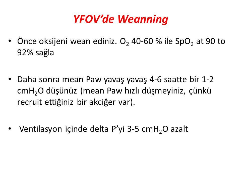 YFOV'de Weanning Önce oksijeni wean ediniz. O 2 40-60 % ile SpO 2 at 90 to 92% sağla Daha sonra mean Paw yavaş yavaş 4-6 saatte bir 1-2 cmH 2 O düşünü
