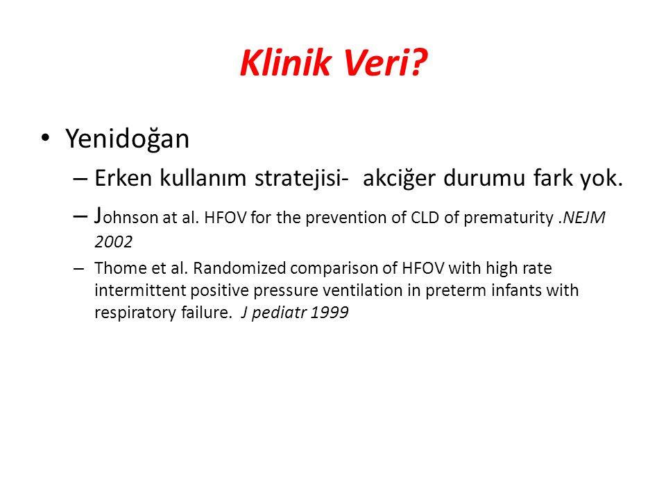 Klinik Veri? Yenidoğan – Erken kullanım stratejisi- akciğer durumu fark yok. – J ohnson at al. HFOV for the prevention of CLD of prematurity.NEJM 2002