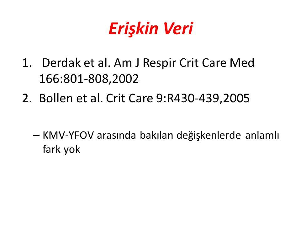 Erişkin Veri 1. Derdak et al. Am J Respir Crit Care Med 166:801-808,2002 2.Bollen et al. Crit Care 9:R430-439,2005 – KMV-YFOV arasında bakılan değişke