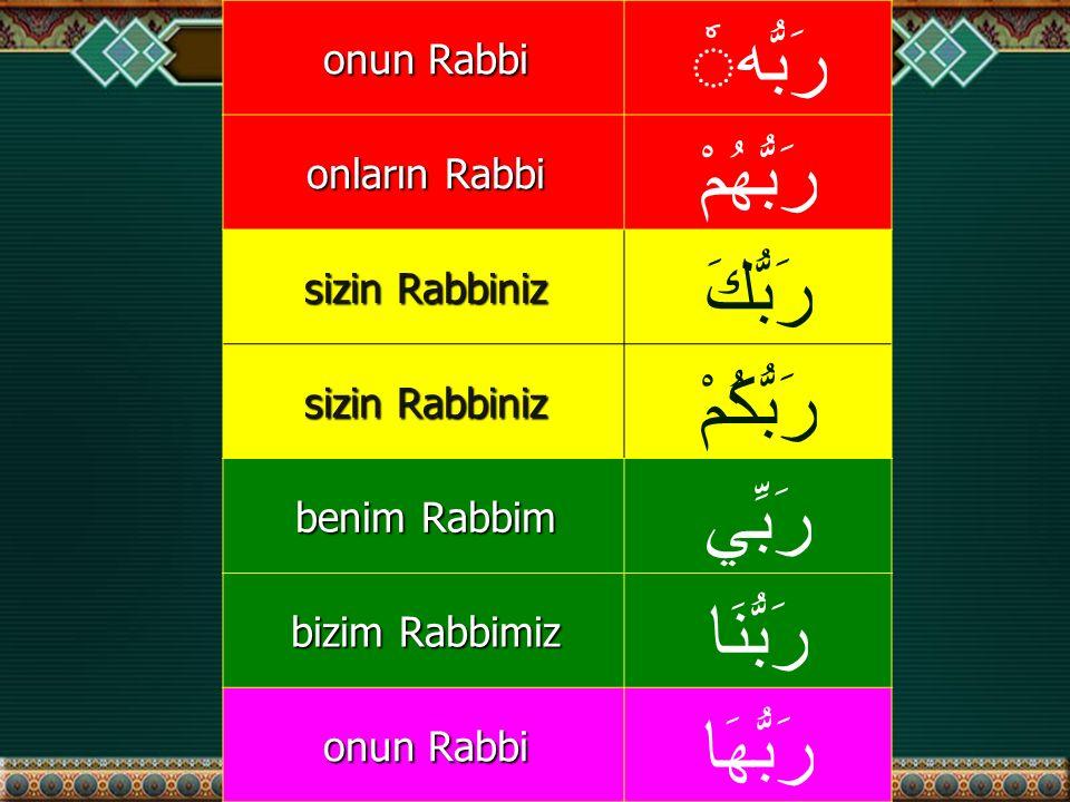 onun Rabbi رَبُّه onların Rabbi رَبُّهُمْ sizin Rabbiniz رَبُّكَ sizin Rabbiniz رَبُّكُمْ benim Rabbim رَبِّي bizim Rabbimiz رَبُّنَا onun Rabbi رَبُّهَا