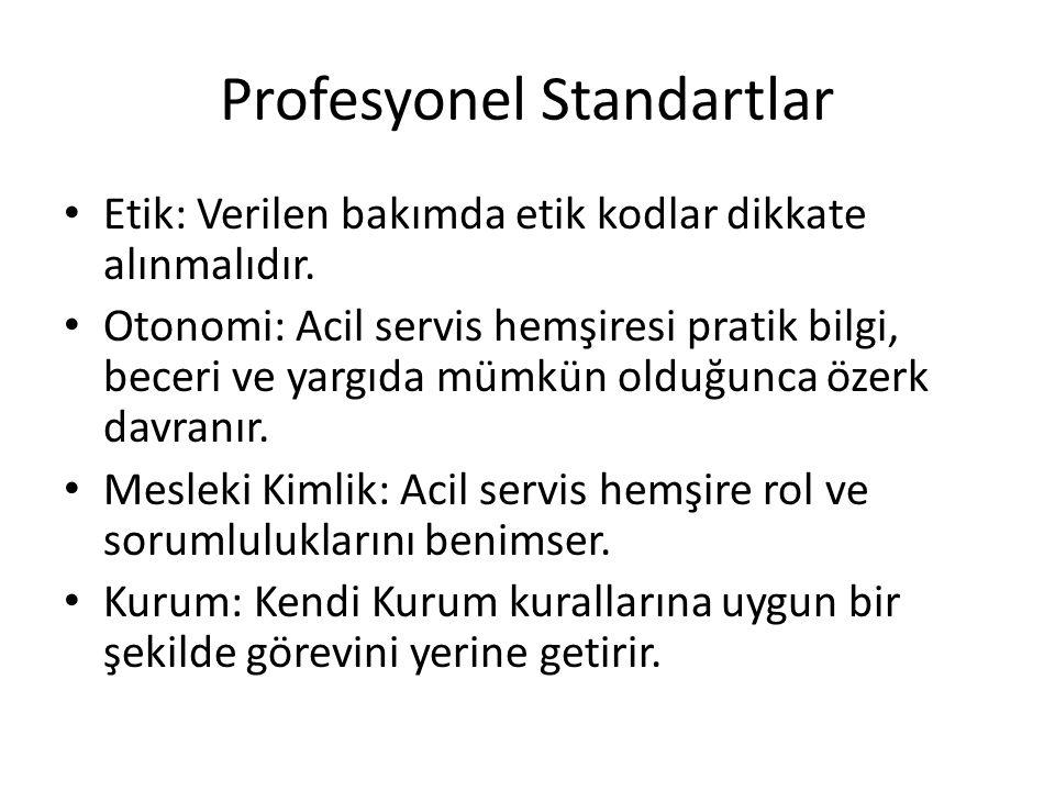 Profesyonel Standartlar Etik: Verilen bakımda etik kodlar dikkate alınmalıdır. Otonomi: Acil servis hemşiresi pratik bilgi, beceri ve yargıda mümkün o
