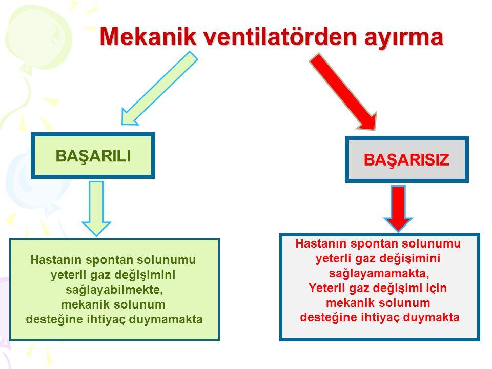 Mekanik ventilatörden ayırma Mekanik ventilatörden ayırma BAŞARILI Hastanın spontan solunumu yeterli gaz değişimini sağlayabilmekte, mekanik solunum d