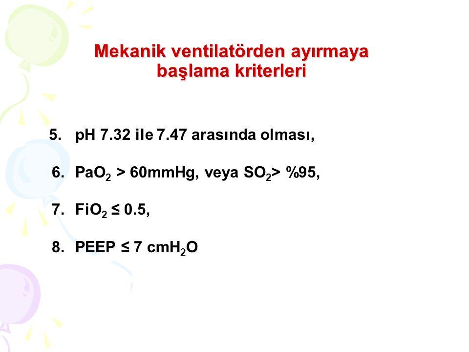 Mekanik ventilatörden ayırmaya başlama kriterleri 5.pH 7.32 ile 7.47 arasında olması, 6.PaO 2 > 60mmHg, veya SO 2 > %95, 7.FiO 2 ≤ 0.5, 8.PEEP ≤ 7 cmH 2 O