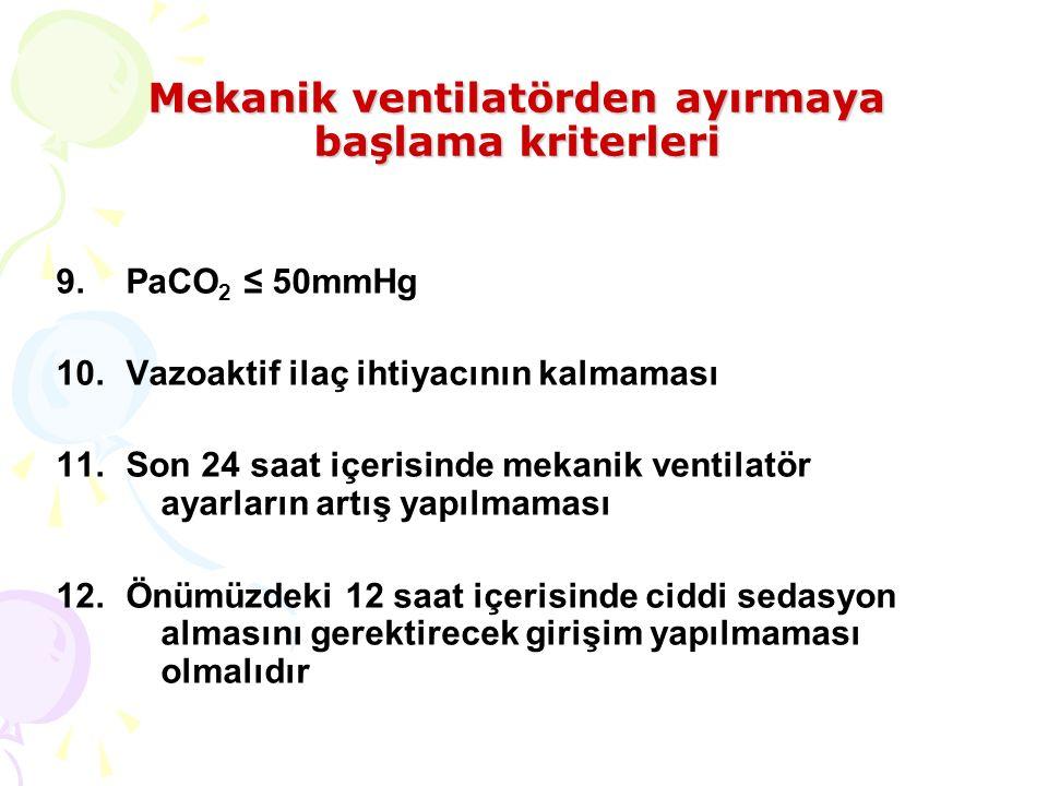 Mekanik ventilatörden ayırmaya başlama kriterleri 9.PaCO 2 ≤ 50mmHg 10.Vazoaktif ilaç ihtiyacının kalmaması 11.Son 24 saat içerisinde mekanik ventilatör ayarların artış yapılmaması 12.Önümüzdeki 12 saat içerisinde ciddi sedasyon almasını gerektirecek girişim yapılmaması olmalıdır