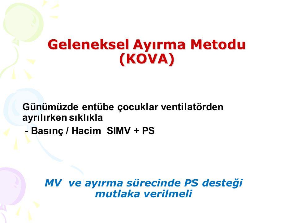 Günümüzde entübe çocuklar ventilatörden ayrılırken sıklıkla - Basınç / Hacim SIMV + PS MV ve ayırma sürecinde PS desteği mutlaka verilmeli Geleneksel Ayırma Metodu (KOVA)