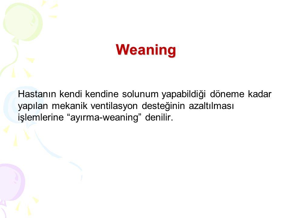 Weaning Hastanın kendi kendine solunum yapabildiği döneme kadar yapılan mekanik ventilasyon desteğinin azaltılması işlemlerine ayırma-weaning denilir.