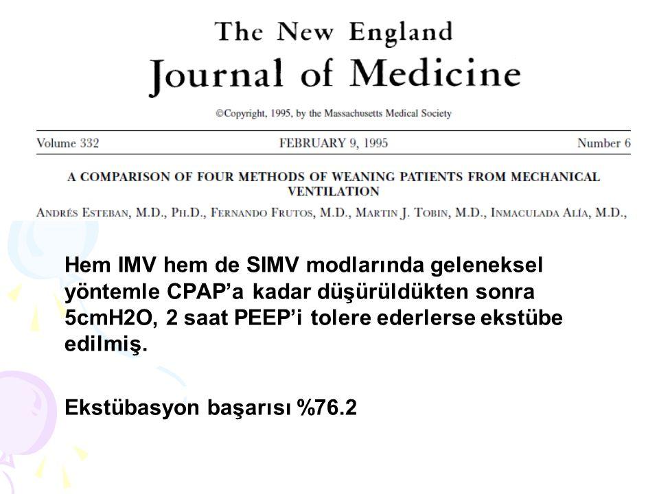 Hem IMV hem de SIMV modlarında geleneksel yöntemle CPAP'a kadar düşürüldükten sonra 5cmH2O, 2 saat PEEP'i tolere ederlerse ekstübe edilmiş.