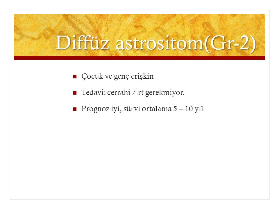Diffüz astrositom(Gr-2) Çocuk ve genç eri ş kin Tedavi: cerrahi / rt gerekmiyor. Prognoz iyi, sürvi ortalama 5 – 10 yıl