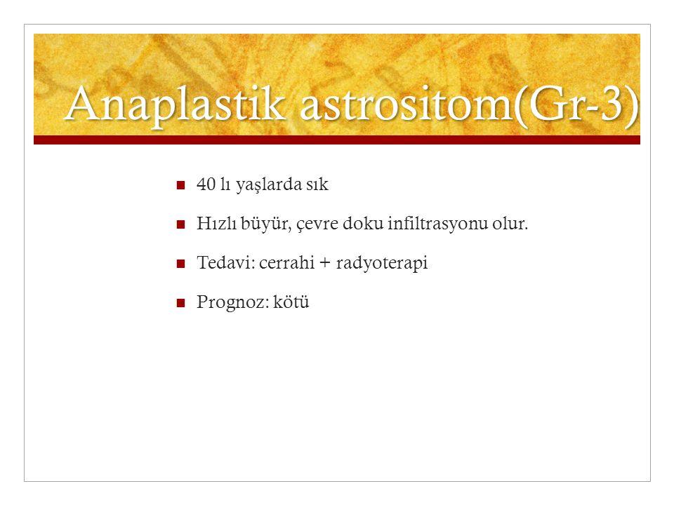 Anaplastik astrositom(Gr-3) 40 lı ya ş larda sık Hızlı büyür, çevre doku infiltrasyonu olur. Tedavi: cerrahi + radyoterapi Prognoz: kötü