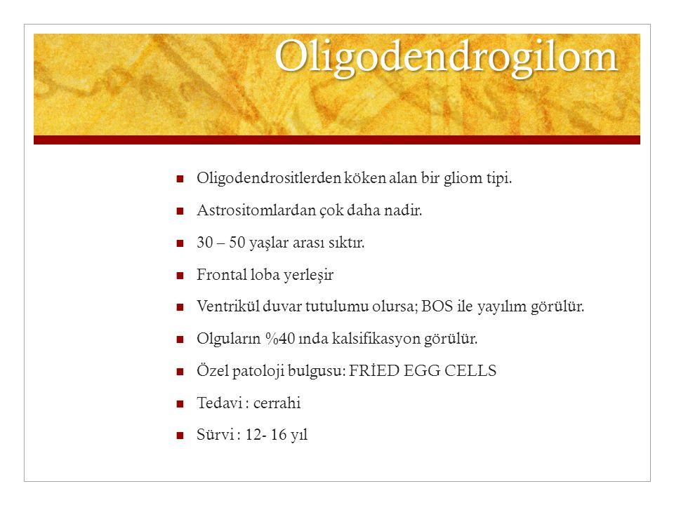 Oligodendrogilom Oligodendrositlerden köken alan bir gliom tipi. Astrositomlardan çok daha nadir. 30 – 50 ya ş lar arası sıktır. Frontal loba yerle ş