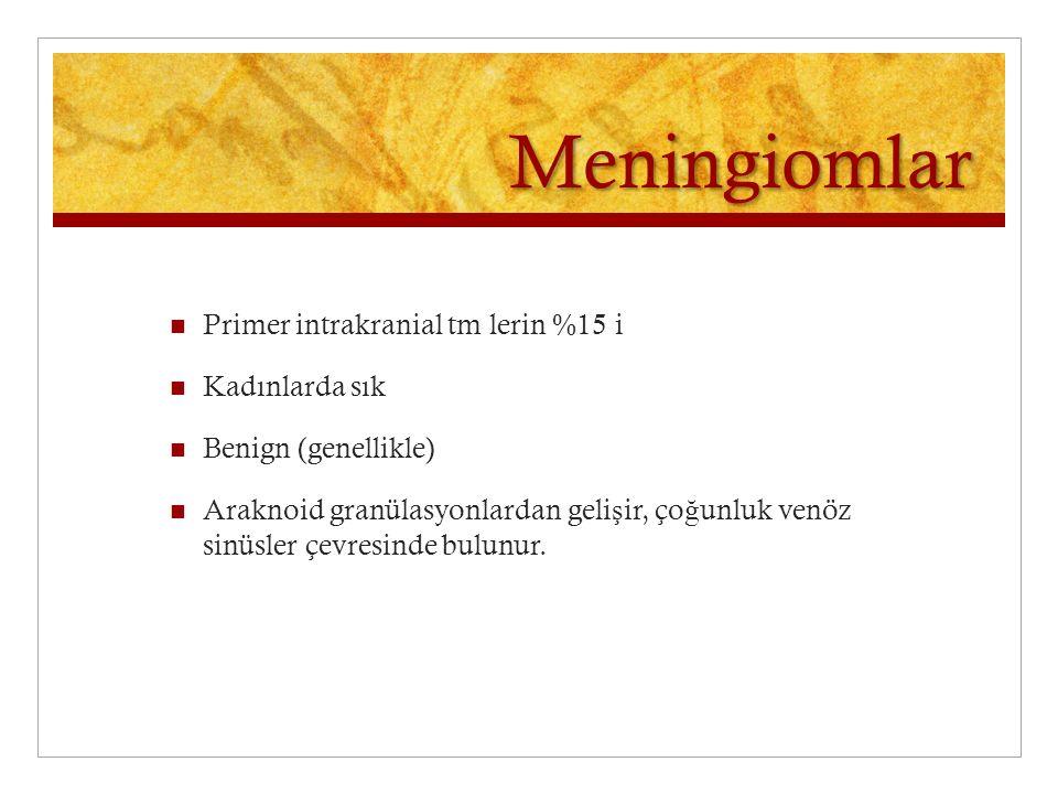 Meningiomlar Primer intrakranial tm lerin %15 i Kadınlarda sık Benign (genellikle) Araknoid granülasyonlardan geli ş ir, ço ğ unluk venöz sinüsler çev