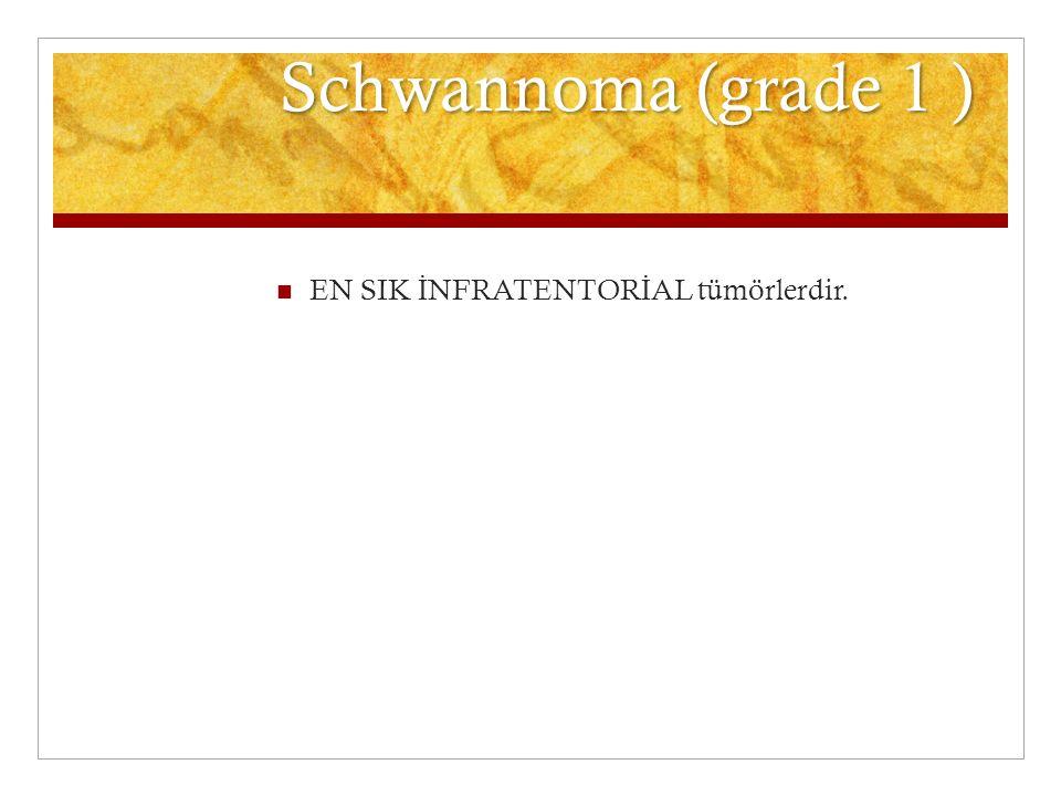 Schwannoma (grade 1 ) EN SIK İ NFRATENTOR İ AL tümörlerdir.
