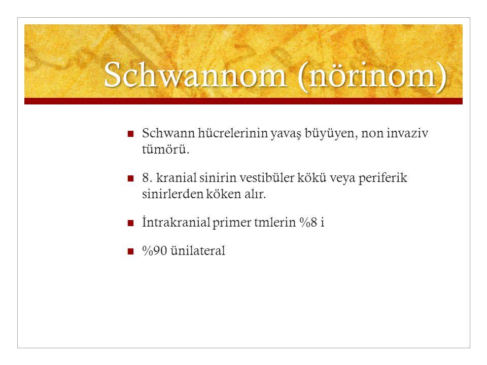 Schwannom (nörinom) Schwann hücrelerinin yava ş büyüyen, non invaziv tümörü. 8. kranial sinirin vestibüler kökü veya periferik sinirlerden köken alır.