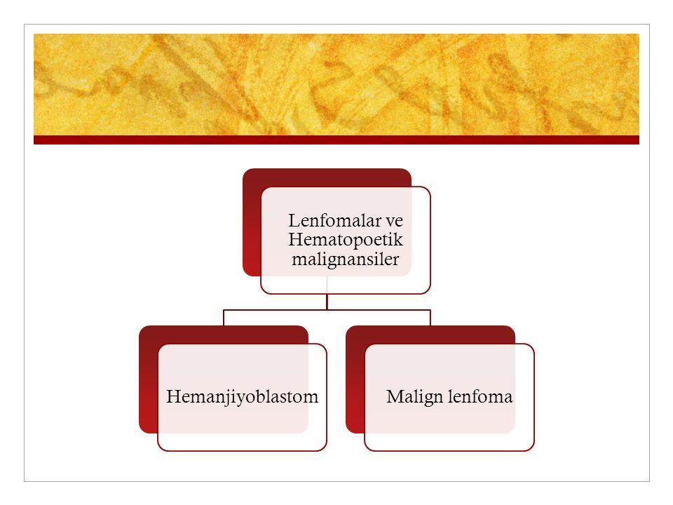 Lenfomalar ve Hematopoetik malignansiler HemanjiyoblastomMalign lenfoma