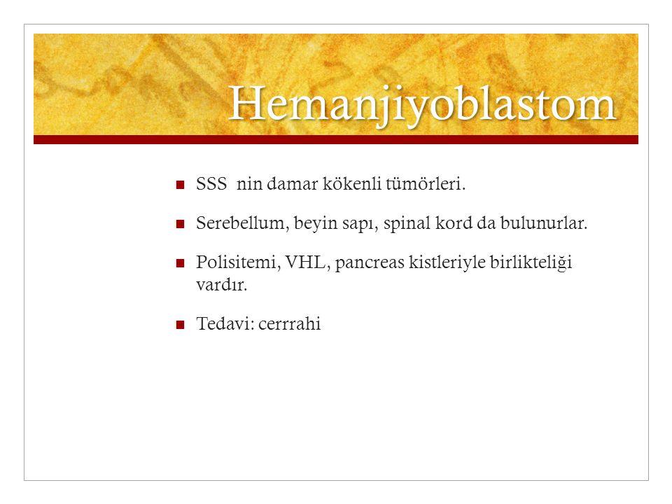 Hemanjiyoblastom SSS nin damar kökenli tümörleri. Serebellum, beyin sapı, spinal kord da bulunurlar. Polisitemi, VHL, pancreas kistleriyle birlikteli
