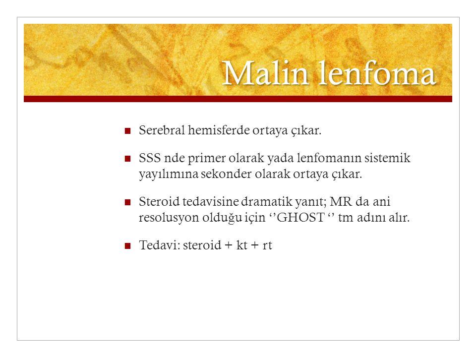 Malin lenfoma Serebral hemisferde ortaya çıkar. SSS nde primer olarak yada lenfomanın sistemik yayılımına sekonder olarak ortaya çıkar. Steroid tedavi