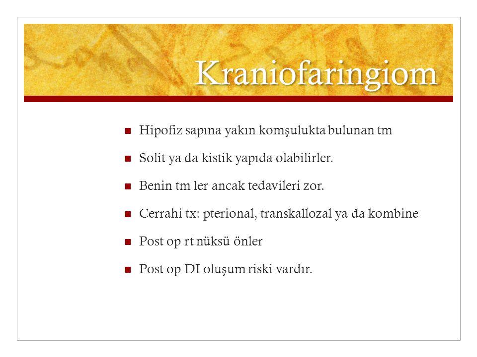 Kraniofaringiom Hipofiz sapına yakın kom ş ulukta bulunan tm Solit ya da kistik yapıda olabilirler. Benin tm ler ancak tedavileri zor. Cerrahi tx: pte
