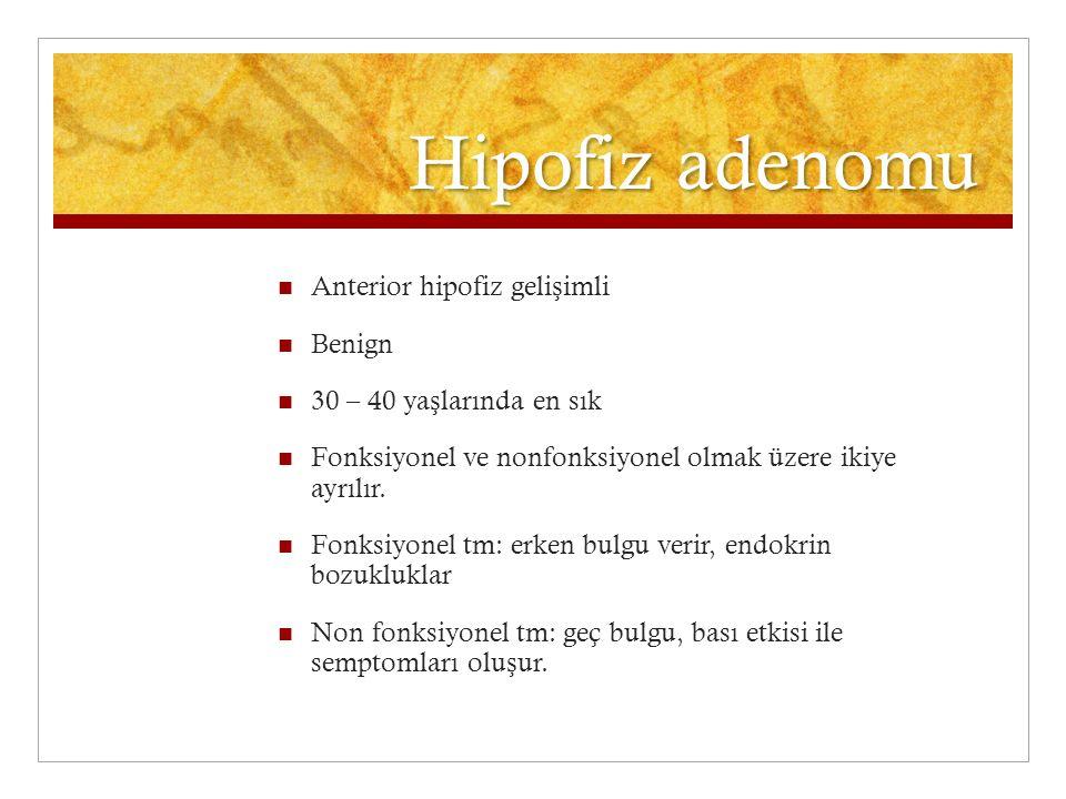 Hipofiz adenomu Anterior hipofiz geli ş imli Benign 30 – 40 ya ş larında en sık Fonksiyonel ve nonfonksiyonel olmak üzere ikiye ayrılır. Fonksiyonel t