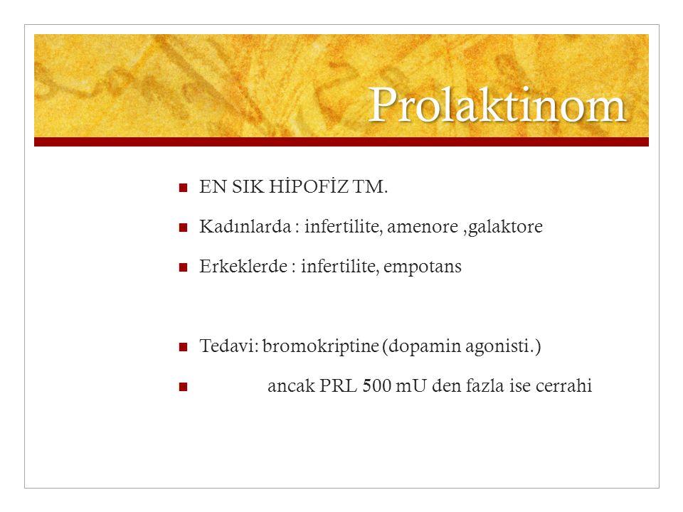 Prolaktinom EN SIK H İ POF İ Z TM. Kadınlarda : infertilite, amenore,galaktore Erkeklerde : infertilite, empotans Tedavi: bromokriptine (dopamin agoni