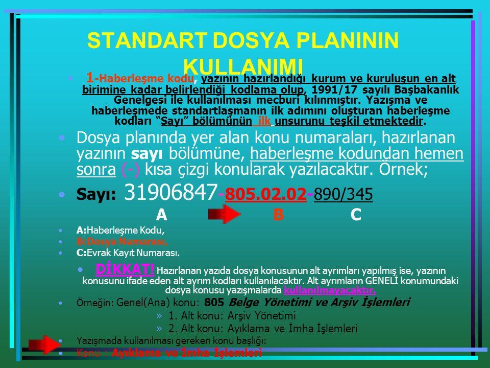 STANDART DOSYA PLANININ KULLANIMI 1 -Haberleşme kodu, yazının hazırlandığı kurum ve kuruluşun en alt birimine kadar belirlendiği kodlama olup, 1991/17 sayılı Başbakanlık Genelgesi ile kullanılması mecburi kılınmıştır.