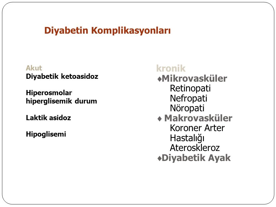 Diyabetin Komplikasyonları Akut Diyabetik ketoasidoz Hiperosmolar hiperglisemik durum Laktik asidoz Hipoglisemi kronik  Mikrovasküler Retinopati Nefropati Nöropati  Makrovasküler Koroner Arter Hastalığı Ateroskleroz  Diyabetik Ayak