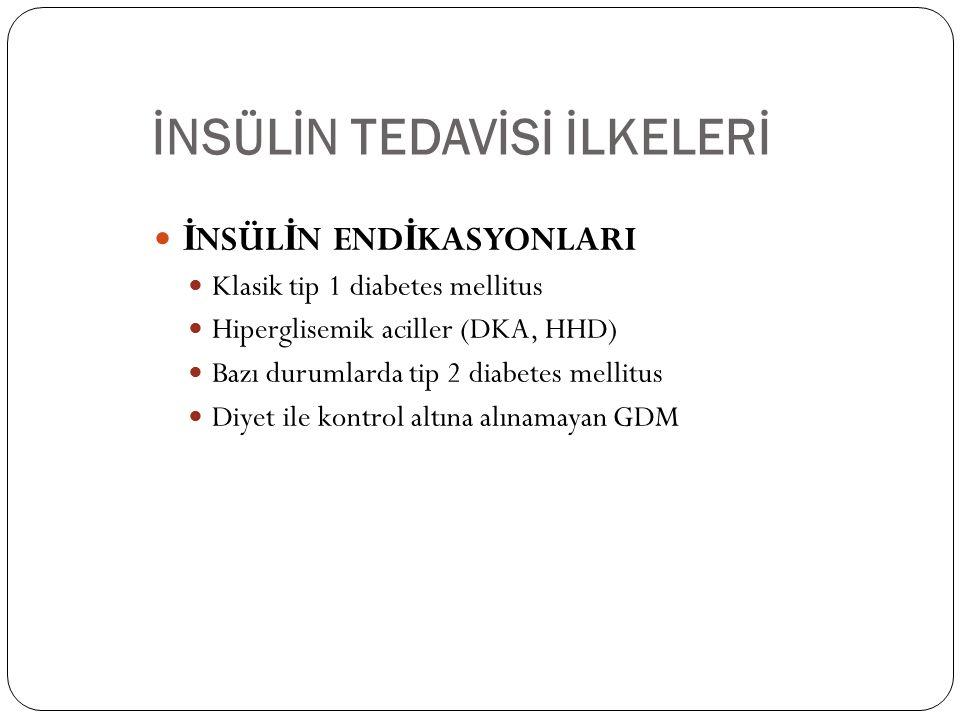 İNSÜLİN TEDAVİSİ İLKELERİ İ NSÜL İ N END İ KASYONLARI Klasik tip 1 diabetes mellitus Hiperglisemik aciller (DKA, HHD) Bazı durumlarda tip 2 diabetes mellitus Diyet ile kontrol altına alınamayan GDM