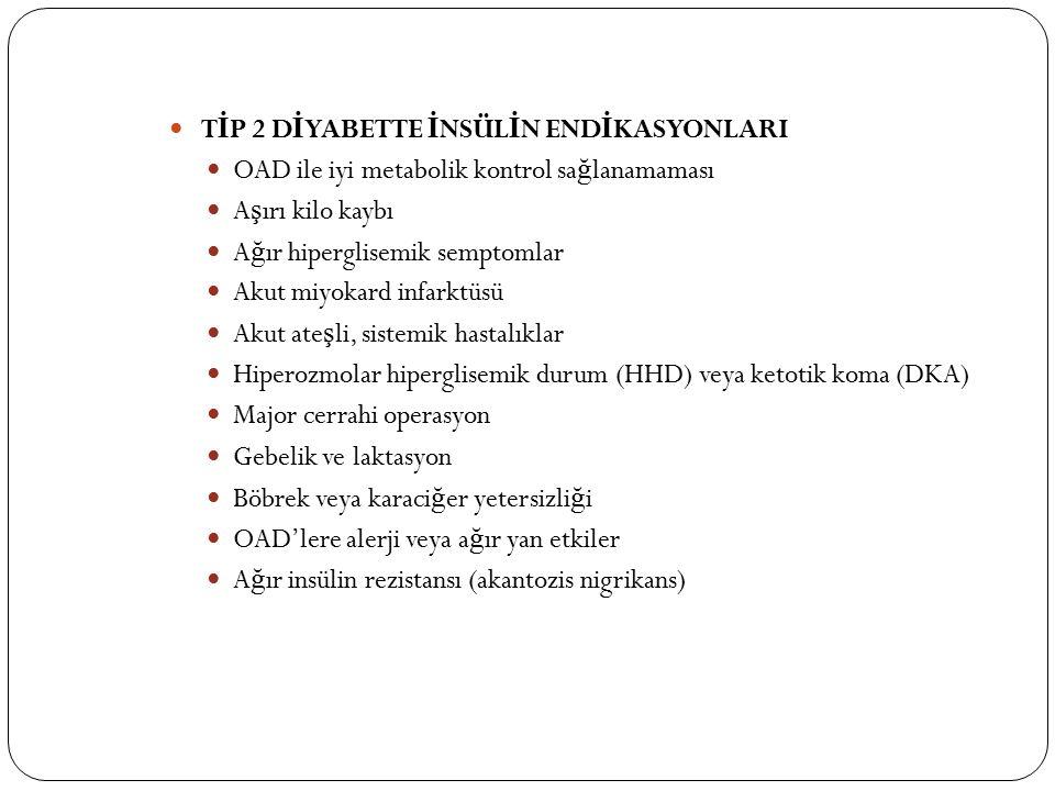 T İ P 2 D İ YABETTE İ NSÜL İ N END İ KASYONLARI OAD ile iyi metabolik kontrol sa ğ lanamaması A ş ırı kilo kaybı A ğ ır hiperglisemik semptomlar Akut miyokard infarktüsü Akut ate ş li, sistemik hastalıklar Hiperozmolar hiperglisemik durum (HHD) veya ketotik koma (DKA) Major cerrahi operasyon Gebelik ve laktasyon Böbrek veya karaci ğ er yetersizli ğ i OAD'lere alerji veya a ğ ır yan etkiler A ğ ır insülin rezistansı (akantozis nigrikans)