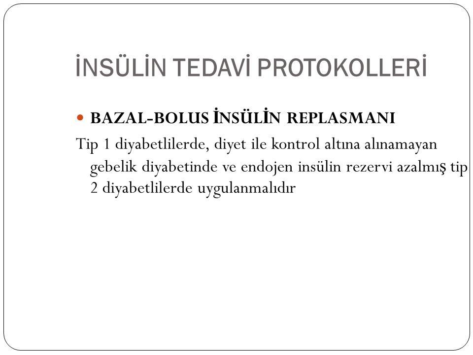 İNSÜLİN TEDAVİ PROTOKOLLERİ BAZAL-BOLUS İ NSÜL İ N REPLASMANI Tip 1 diyabetlilerde, diyet ile kontrol altına alınamayan gebelik diyabetinde ve endojen insülin rezervi azalmı ş tip 2 diyabetlilerde uygulanmalıdır