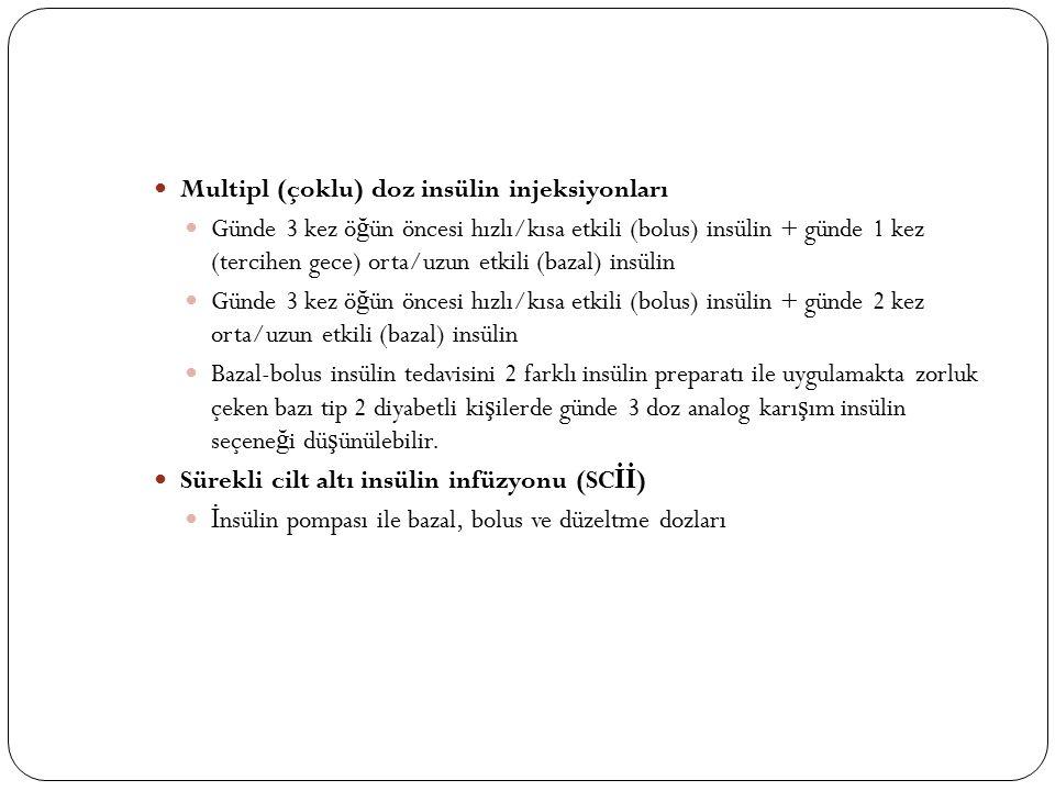 Multipl (çoklu) doz insülin injeksiyonları Günde 3 kez ö ğ ün öncesi hızlı/kısa etkili (bolus) insülin + günde 1 kez (tercihen gece) orta/uzun etkili (bazal) insülin Günde 3 kez ö ğ ün öncesi hızlı/kısa etkili (bolus) insülin + günde 2 kez orta/uzun etkili (bazal) insülin Bazal-bolus insülin tedavisini 2 farklı insülin preparatı ile uygulamakta zorluk çeken bazı tip 2 diyabetli ki ş ilerde günde 3 doz analog karı ş ım insülin seçene ğ i dü ş ünülebilir.