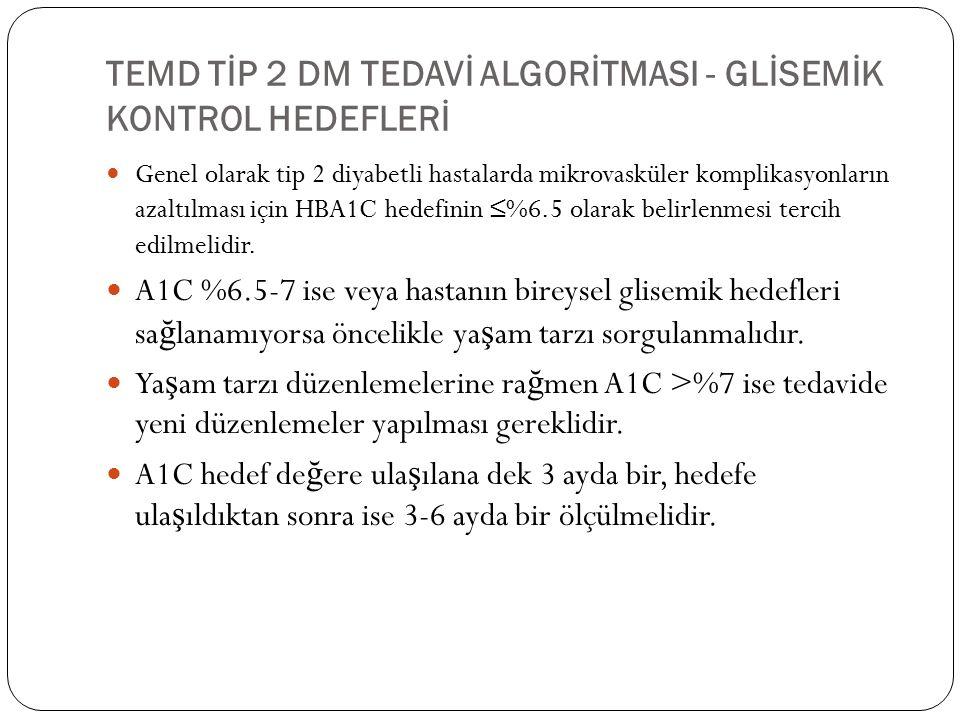 TEMD TİP 2 DM TEDAVİ ALGORİTMASI - GLİSEMİK KONTROL HEDEFLERİ Genel olarak tip 2 diyabetli hastalarda mikrovasküler komplikasyonların azaltılması için