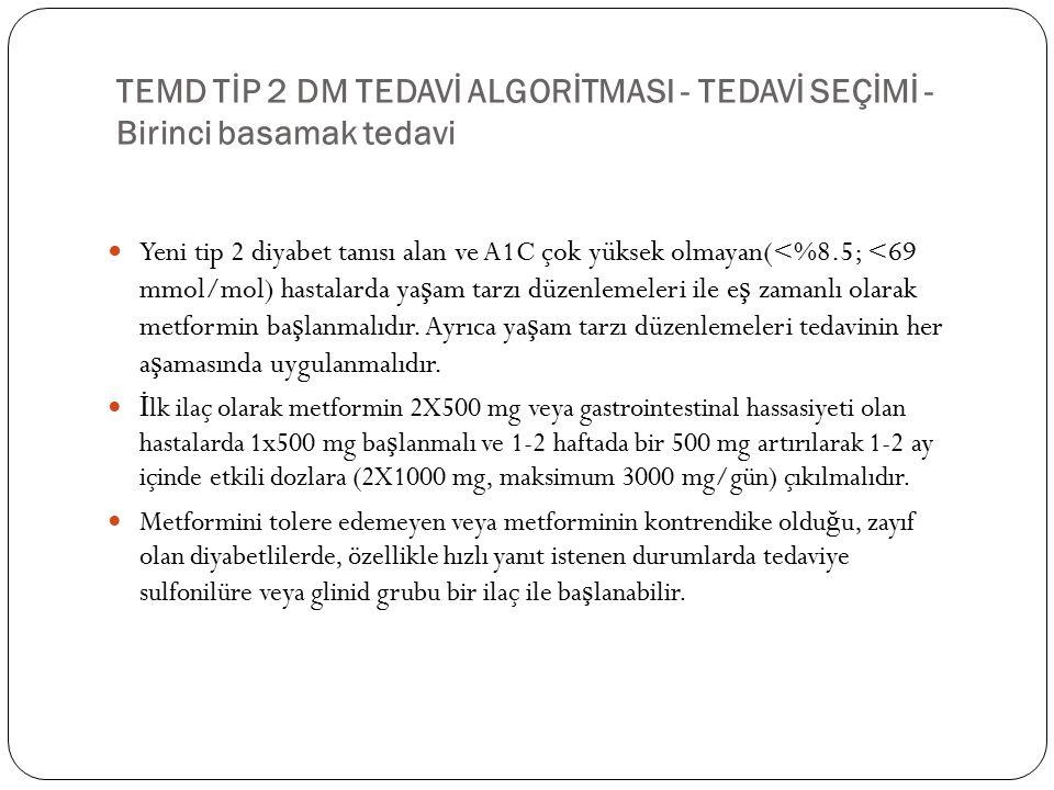 TEMD TİP 2 DM TEDAVİ ALGORİTMASI - TEDAVİ SEÇİMİ - Birinci basamak tedavi Yeni tip 2 diyabet tanısı alan ve A1C çok yüksek olmayan(<%8.5; <69 mmol/mol) hastalarda ya ş am tarzı düzenlemeleri ile e ş zamanlı olarak metformin ba ş lanmalıdır.