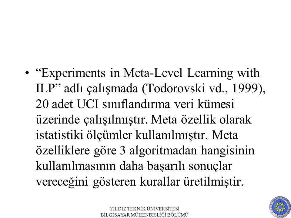 """""""Experiments in Meta-Level Learning with ILP"""" adlı çalışmada (Todorovski vd., 1999), 20 adet UCI sınıflandırma veri kümesi üzerinde çalışılmıştır. Met"""