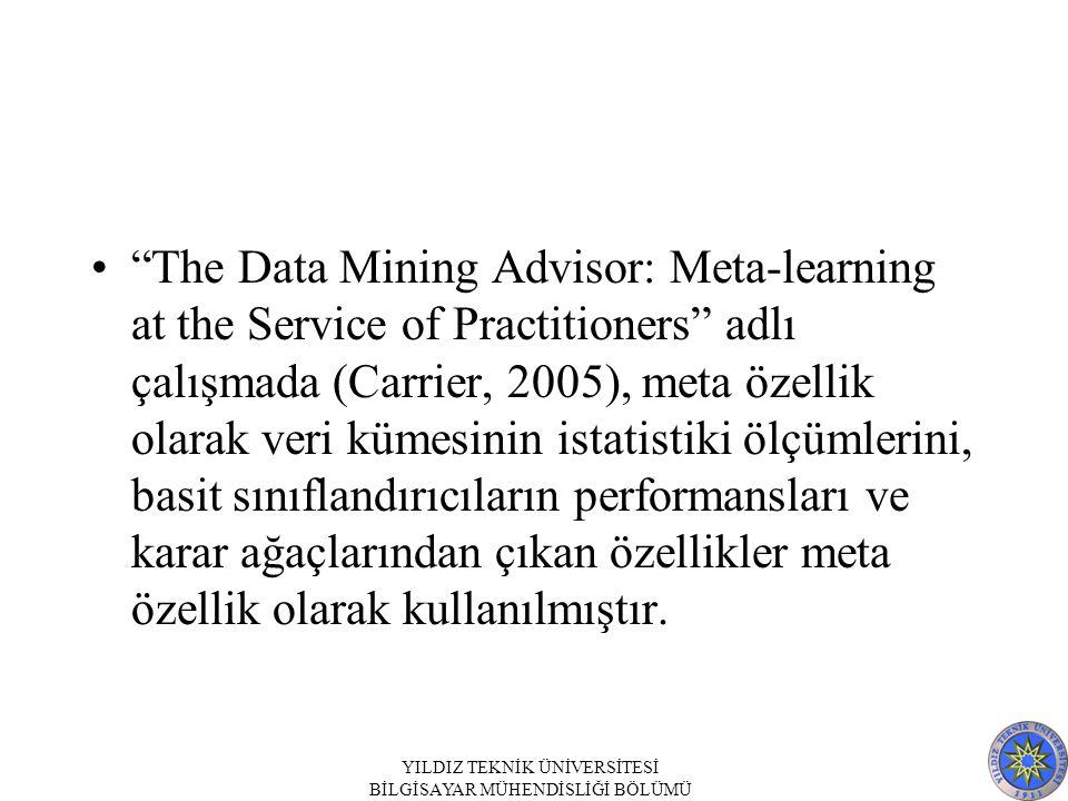 The Data Mining Advisor: Meta-learning at the Service of Practitioners adlı çalışmada (Carrier, 2005), meta özellik olarak veri kümesinin istatistiki ölçümlerini, basit sınıflandırıcıların performansları ve karar ağaçlarından çıkan özellikler meta özellik olarak kullanılmıştır.