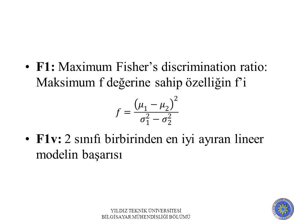 F1: Maximum Fisher's discrimination ratio: Maksimum f değerine sahip özelliğin f'i F1v: 2 sınıfı birbirinden en iyi ayıran lineer modelin başarısı YILDIZ TEKNİK ÜNİVERSİTESİ BİLGİSAYAR MÜHENDİSLİĞİ BÖLÜMÜ