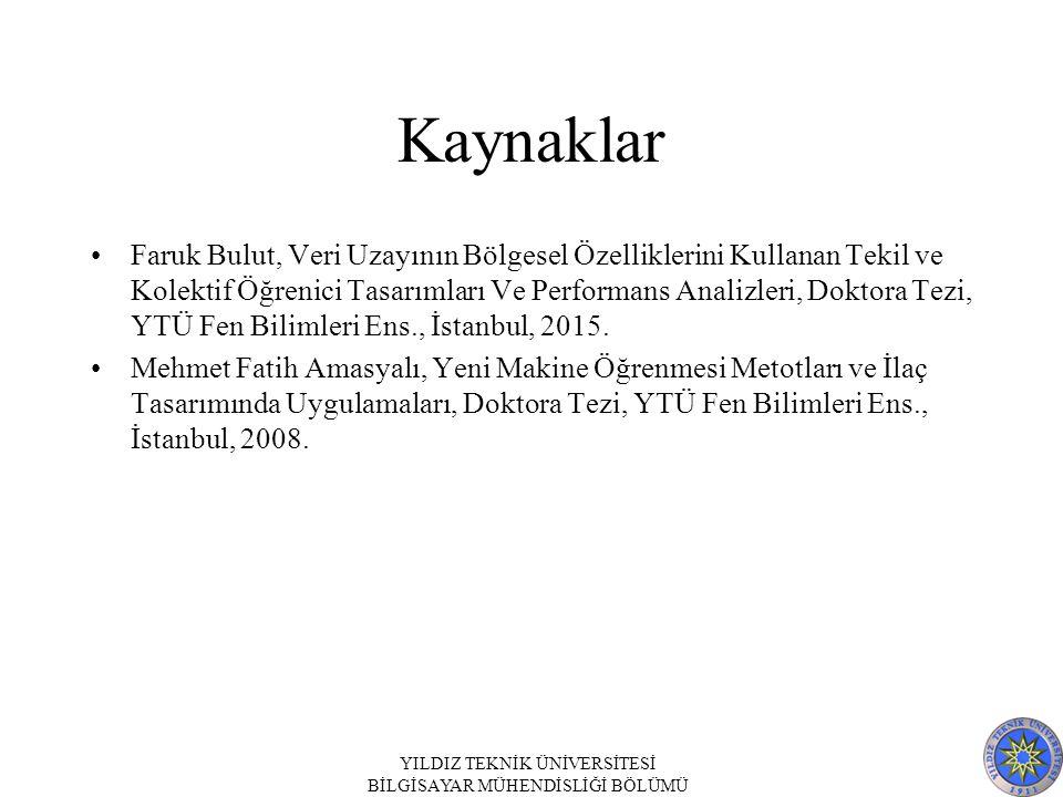 Kaynaklar Faruk Bulut, Veri Uzayının Bölgesel Özelliklerini Kullanan Tekil ve Kolektif Öğrenici Tasarımları Ve Performans Analizleri, Doktora Tezi, YTÜ Fen Bilimleri Ens., İstanbul, 2015.