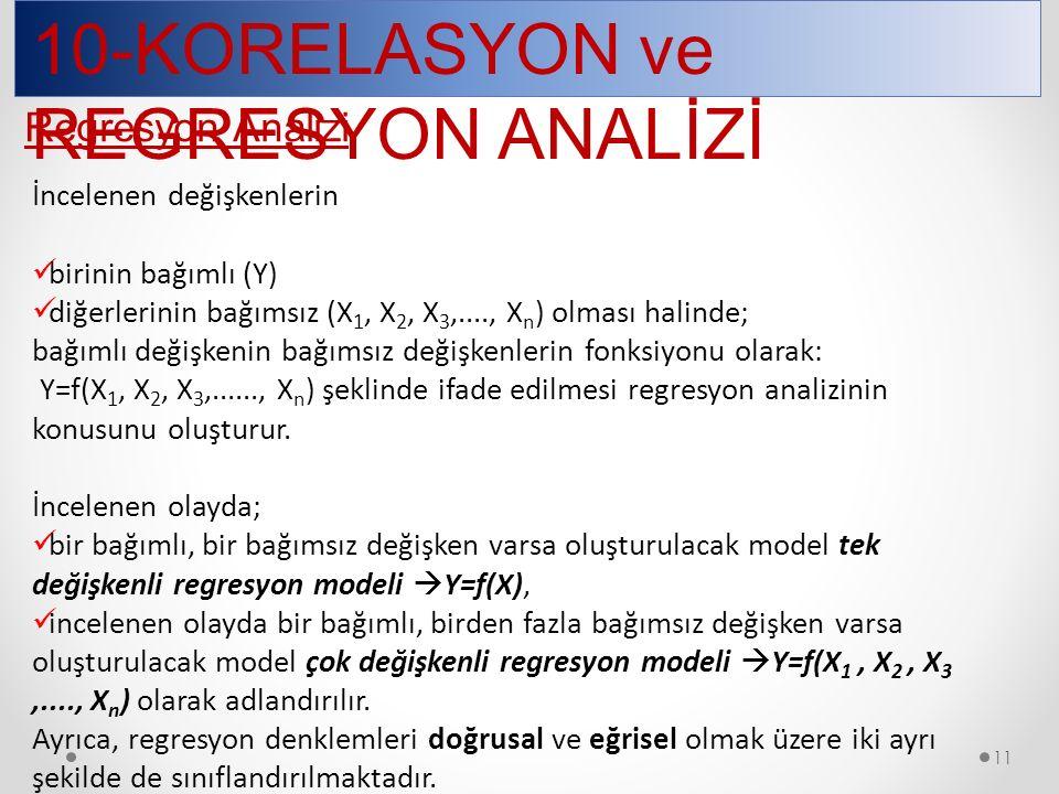 10-KORELASYON ve REGRESYON ANALİZİ 11 İncelenen değişkenlerin birinin bağımlı (Y) diğerlerinin bağımsız (X 1, X 2, X 3,...., X n ) olması halinde; bağımlı değişkenin bağımsız değişkenlerin fonksiyonu olarak: Y=f(X 1, X 2, X 3,......, X n ) şeklinde ifade edilmesi regresyon analizinin konusunu oluşturur.