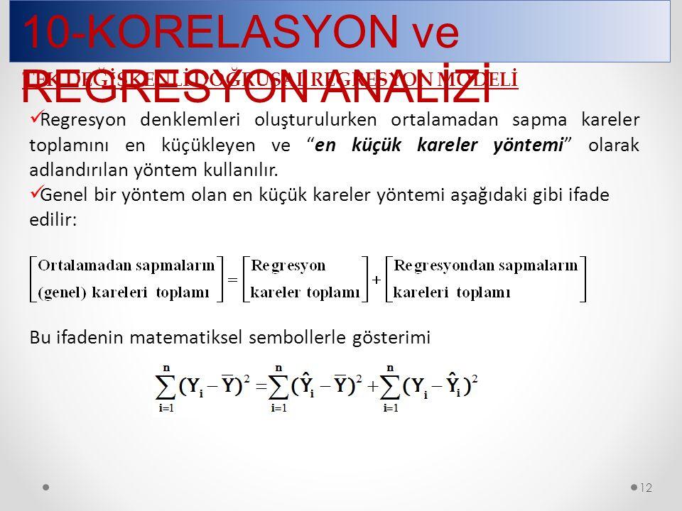 10-KORELASYON ve REGRESYON ANALİZİ 12 Regresyon denklemleri oluşturulurken ortalamadan sapma kareler toplamını en küçükleyen ve en küçük kareler yöntemi olarak adlandırılan yöntem kullanılır.