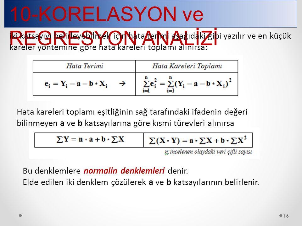 16 10-KORELASYON ve REGRESYON ANALİZİ Hata kareleri toplamı eşitliğinin sağ tarafındaki ifadenin değeri bilinmeyen a ve b katsayılarına göre kısmi türevleri alınırsa Bu denklemlere normalin denklemleri denir.