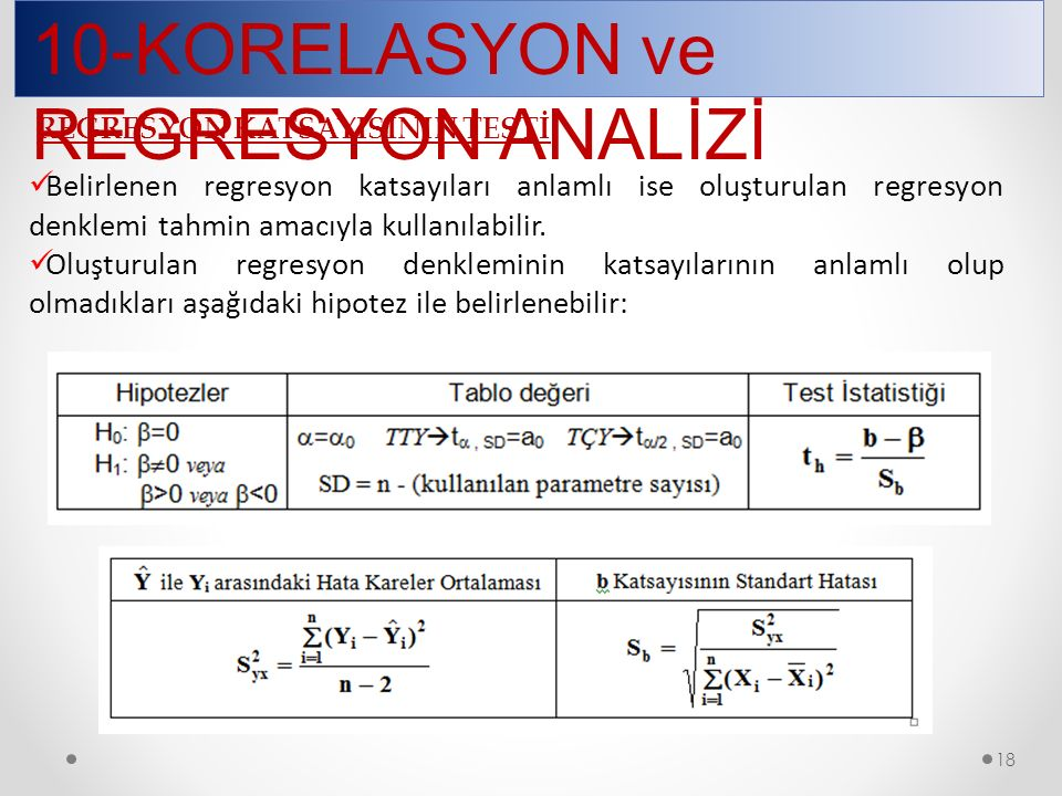 18 10-KORELASYON ve REGRESYON ANALİZİ REGRESYON KATSAYISININ TESTİ Belirlenen regresyon katsayıları anlamlı ise oluşturulan regresyon denklemi tahmin
