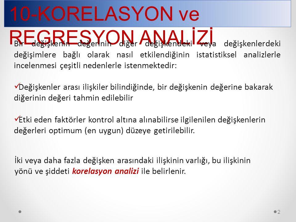 10-KORELASYON ve REGRESYON ANALİZİ 3 İki değişken arasındaki ilişkinin yönü ve derecesi korelasyon katsayısı ile ifade edilir.