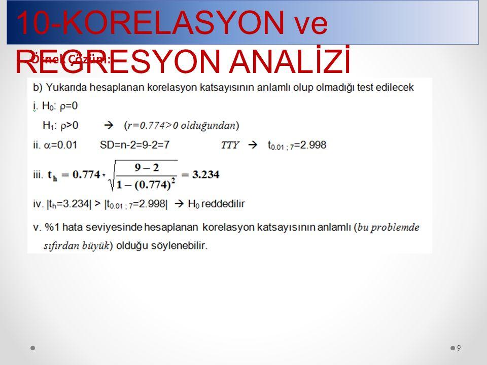 10-KORELASYON ve REGRESYON ANALİZİ 9 Örnek Çözüm: