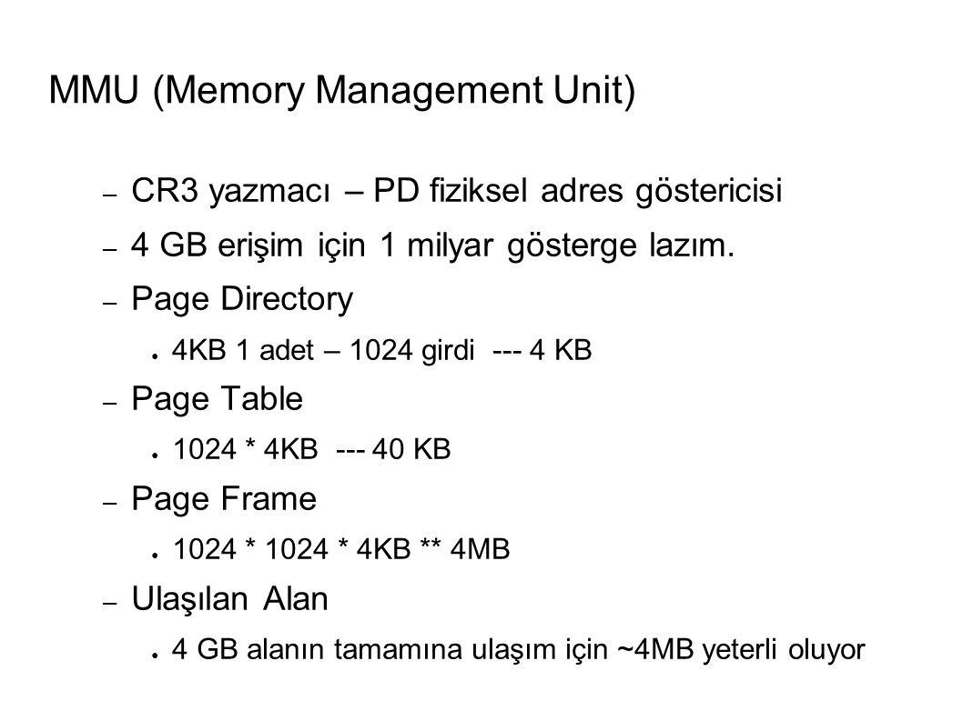 – CR3 yazmacı – PD fiziksel adres göstericisi – 4 GB erişim için 1 milyar gösterge lazım.