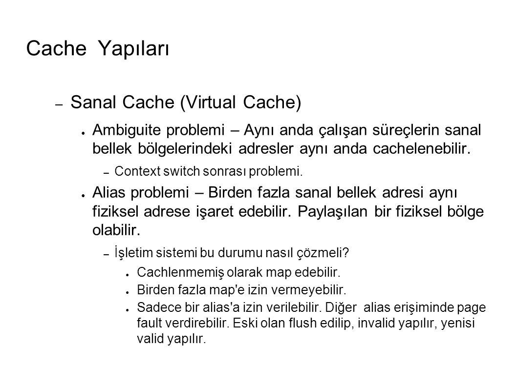Cache Yapıları – Sanal Cache (Virtual Cache) ● Ambiguite problemi – Aynı anda çalışan süreçlerin sanal bellek bölgelerindeki adresler aynı anda cachelenebilir.