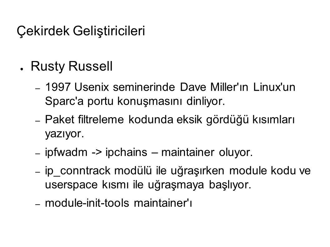 Çekirdek Geliştiricileri ● Rusty Russell – 1997 Usenix seminerinde Dave Miller ın Linux un Sparc a portu konuşmasını dinliyor.