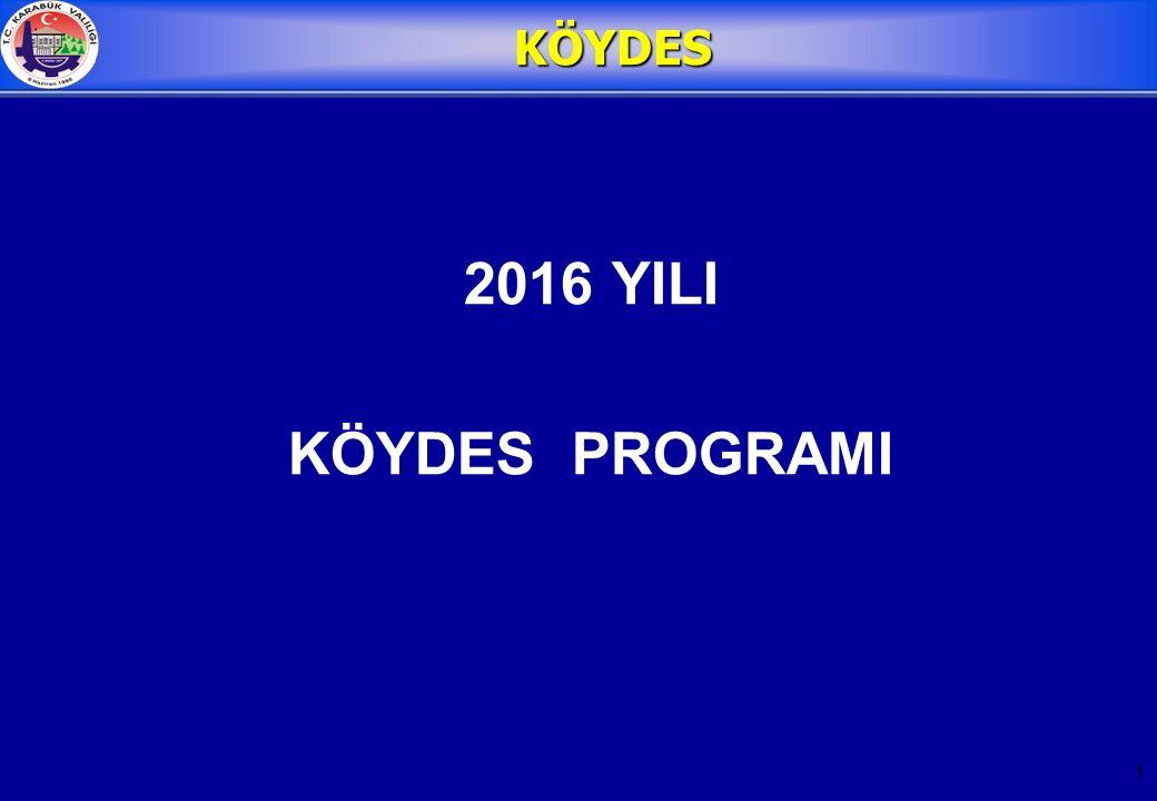 1 KÖYDES 2016 YILI KÖYDES PROGRAMI