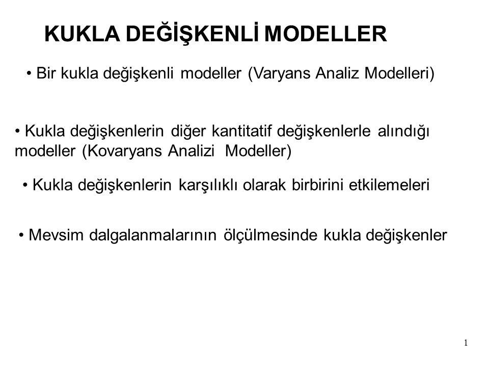 1 KUKLA DEĞİŞKENLİ MODELLER Bir kukla değişkenli modeller (Varyans Analiz Modelleri) Kukla değişkenlerin diğer kantitatif değişkenlerle alındığı modeller (Kovaryans Analizi Modeller) Kukla değişkenlerin karşılıklı olarak birbirini etkilemeleri Mevsim dalgalanmalarının ölçülmesinde kukla değişkenler