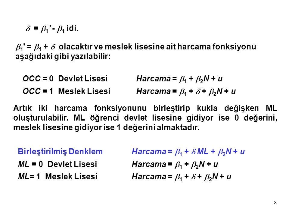 8  1 =  1 +  olacaktır ve meslek lisesine ait harcama fonksiyonu aşağıdaki gibi yazılabilir: OCC = 0 Devlet LisesiHarcama =  1 +  2 N + u OCC = 1 Meslek LisesiHarcama =  1 +  +  2 N + u  =  1 -  1 idi.